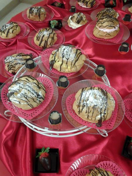 [Image: Custard filled Cream Puffs , Chocolate Covered Strawberries... Edible Chocolate Cups w/ Baileys]