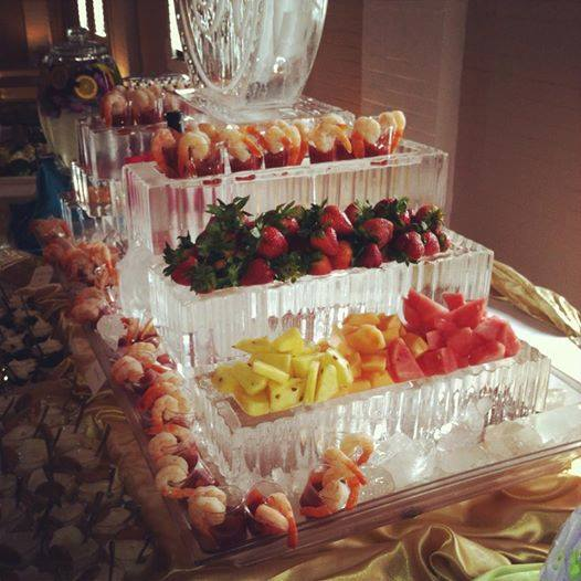Fruit Display and Shrimp Cocktail on Ice Sculpture
