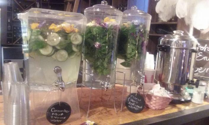[Image: Herbal and Floral Infused water w/Orchids and Pansy's